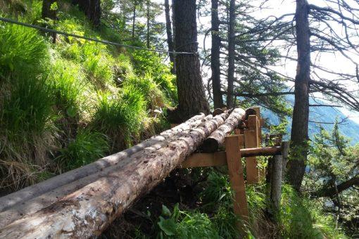 Einfacher Abschnitt des Klettersteigs mit Baumstämmen