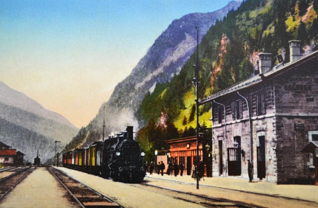 Dampflok am Bahnhof Brenner, Postkarte