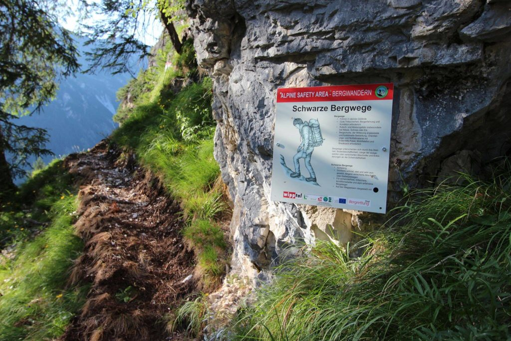 Alpine Safety Area am Fuße des Klettersteiges